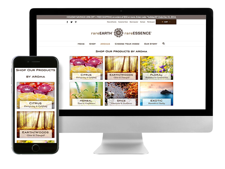 OrangeBall Creative - rareEARTH Naturals responsive ecommerce website