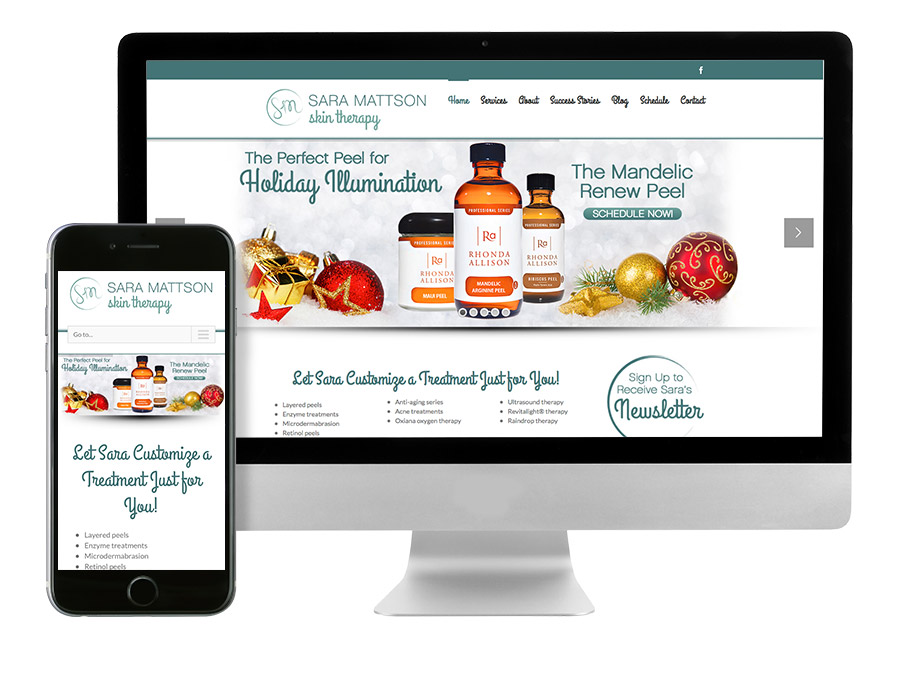 OrangeBall Creative - Website and Print Design Sara Mattson Skin Therapy