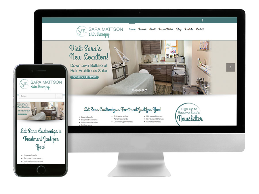 OrangeBall Creative - Sara Mattson Skin Therapy responsive website