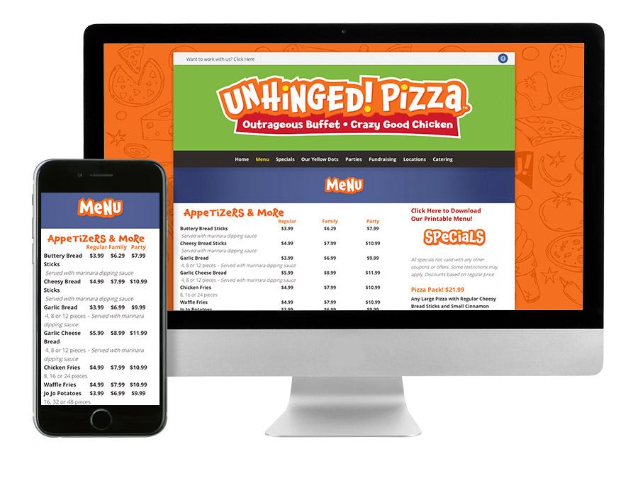 OrangeBall Creative - Unhinged Pizza responsive website